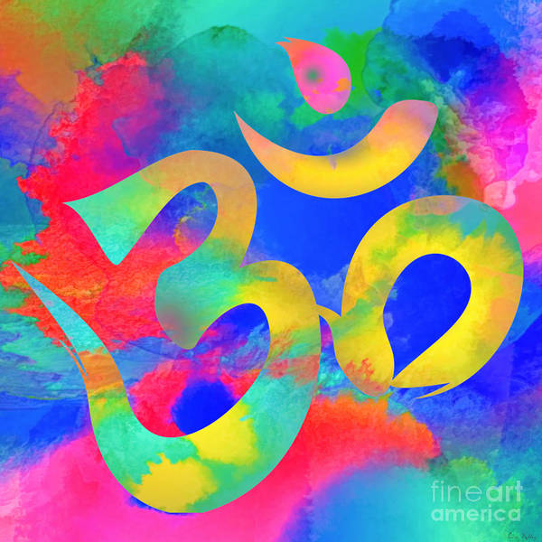 Digital Art - Om Symbol, Rainbow. Ver3 by Lita Kelley