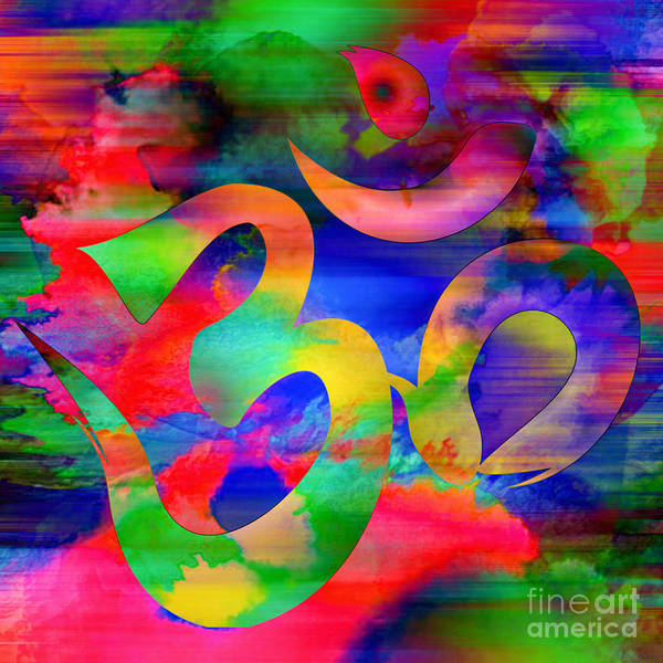 Digital Art - Om Symbol, Rainbow, Ver4 by Lita Kelley