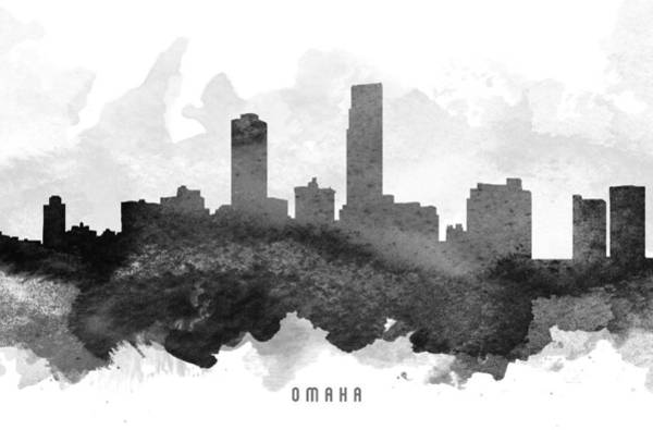 Nebraska Painting - Omaha Cityscape 11 by Aged Pixel