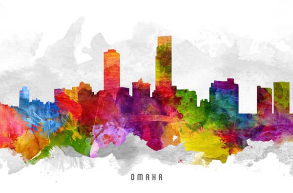 Nebraska Painting - Omaha Nebraska Cityscape 13 by Aged Pixel