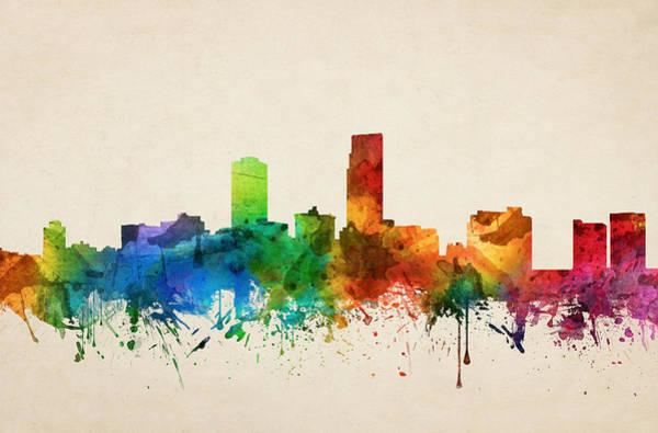 Nebraska Painting - Omaha Nebraska Skyline 05 by Aged Pixel