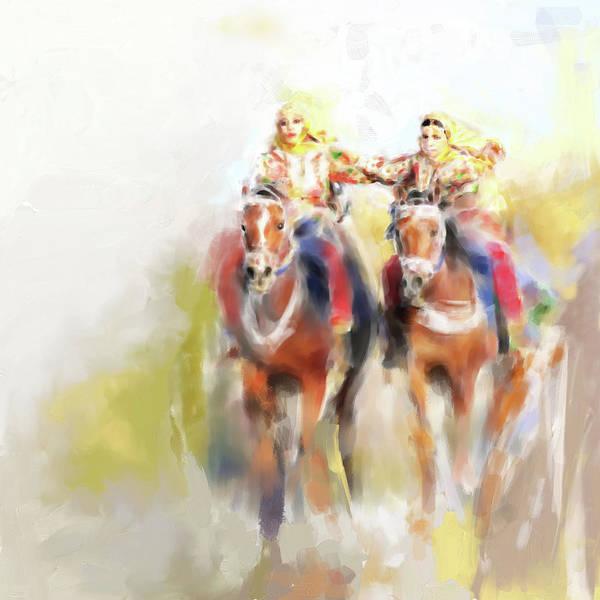 Arab Horse Painting - Omani Horse Riders 669 1 by Mawra Tahreem