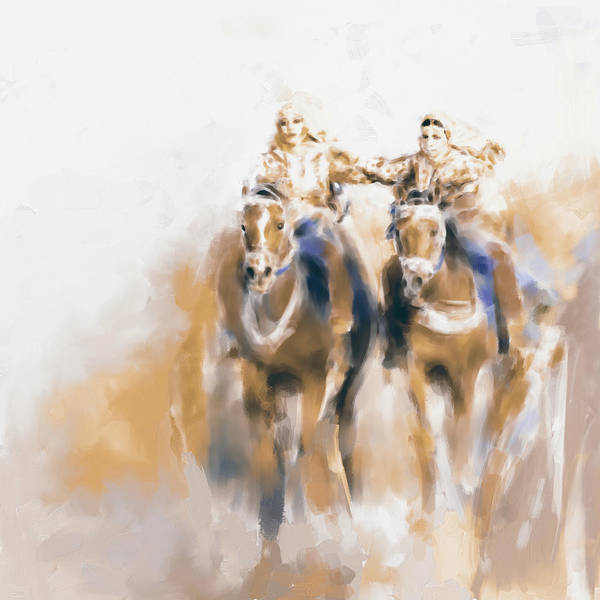 Arab Horse Painting - Omani Horse Riders 669 2 by Mawra Tahreem