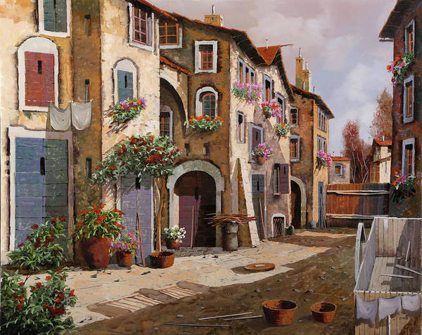 Village Painting - Ombre Per Strada by Guido Borelli