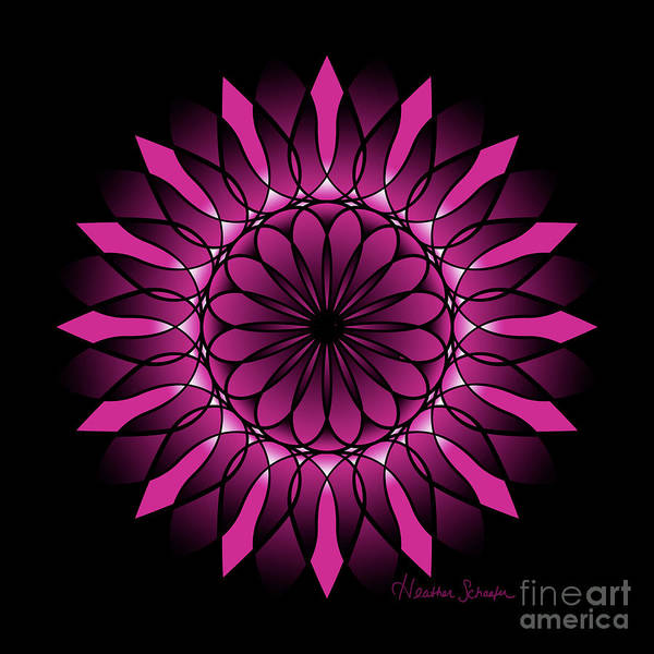 Digital Art - Ombre Pink Flower Mandala by Heather Schaefer