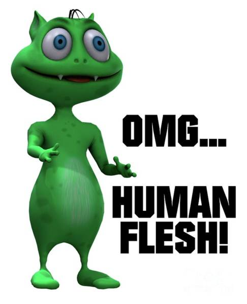 Lizard Digital Art - Omg... Human Flesh by Esoterica Art Agency