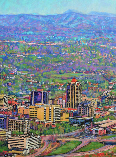 Roanoke Wall Art - Painting - On A Clear Day - A View From Mill Mountain by Bonnie Mason