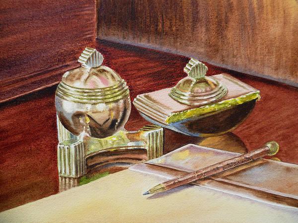 Painting - On A Desk At Eugene O Neill Tao House by Irina Sztukowski