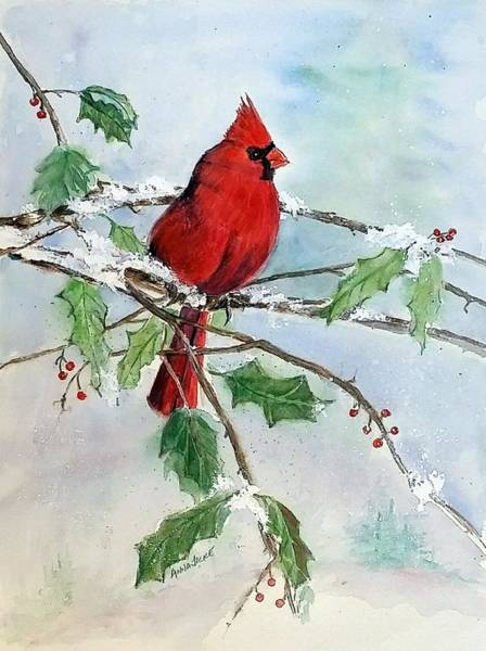 Painting - On A Snowy Perch by Anna Jacke