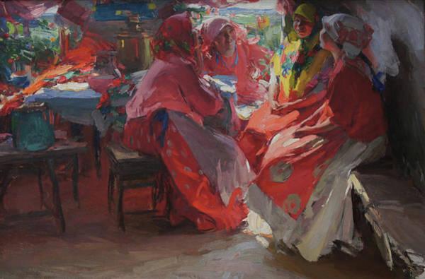 On A Visit Art Print by Abram Arkhipov