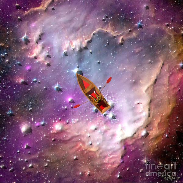 Digital Art - Boatman On An Ocean Of Stars by Walter Neal