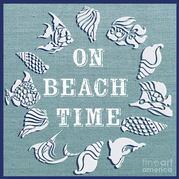 Burlap Painting - On Beach Time-jp3186 by Jean Plout