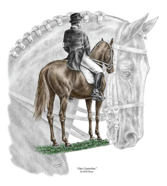 Equine Drawing - On Centerline - Dressage Horse Print Color Tinted by Kelli Swan