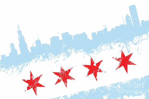 Wall Art - Digital Art - Chicago Flag Lean by Mike Maher