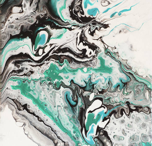 Painting - On Emerald Waves. Abstract Fluid Acrylic Painting by Jenny Rainbow