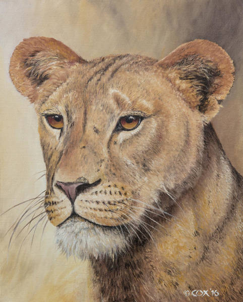 Painting - On-guard - Lioness by Christopher Cox