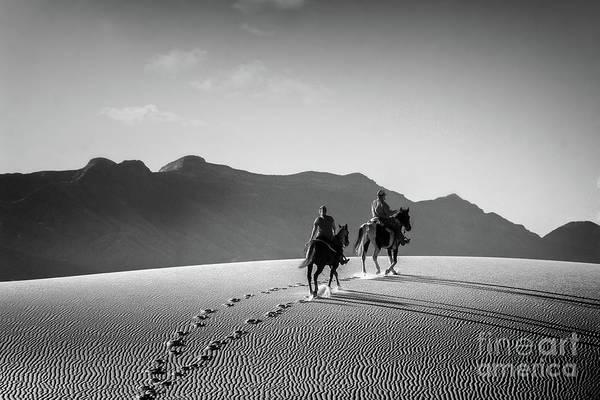 On Horseback At White Sands Art Print