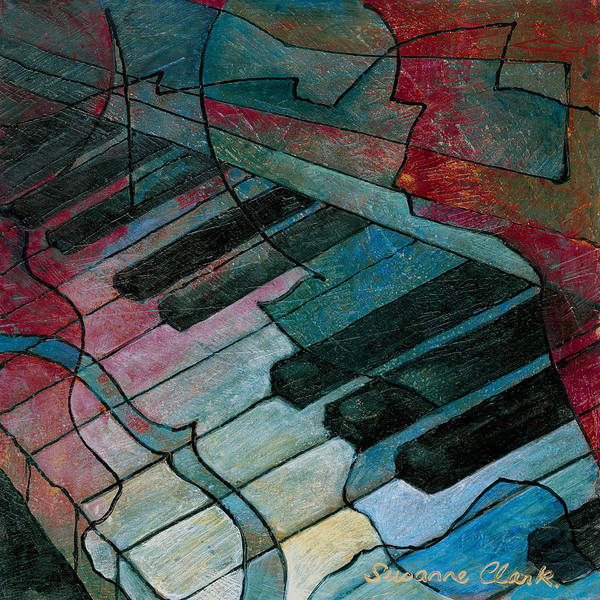 Piano Keyboard Wall Art - Painting - On Key - Keyboard Painting by Susanne Clark
