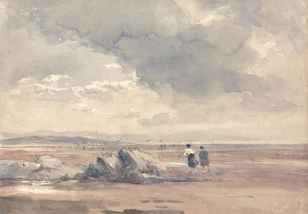 Painting - On Lancaster Sands, Low Tide by David Cox
