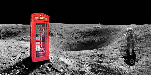 London Phone Booth Wall Art - Digital Art - On Moon by Delphimages Photo Creations