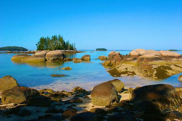 Photograph - Tide Is In On Sand Beach In Stonington Maine by Polly Castor
