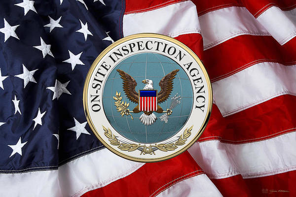 Digital Art - On-site Inspection Agency -  O S I A  Seal Over U. S. Flag by Serge Averbukh