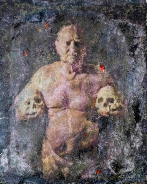 Male Mixed Media - On The Altar Of Skull Carson #3. A Self-portrait, 2016 by Wayne Higgs
