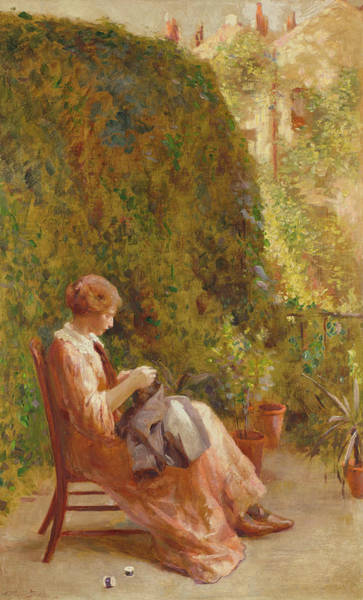 Embroidery Painting - On The Balcony by Henry Thomas Schafer