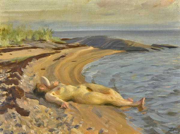 Wall Art - Painting - On The Beach by Anders Zorn