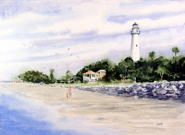 Painting - On The Beach At St. Simon's Island by Sam Sidders
