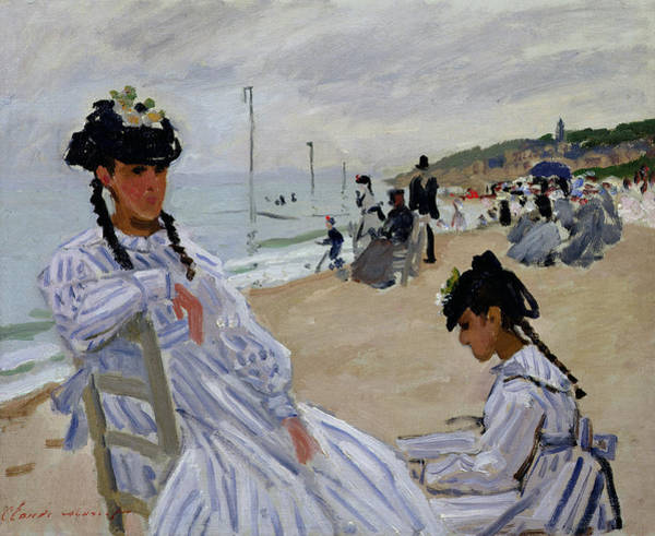 Normandy Painting - On The Beach At Trouville by Claude Monet