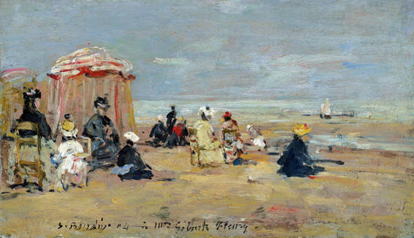 Painting - On The Beach by Eugene Boudin
