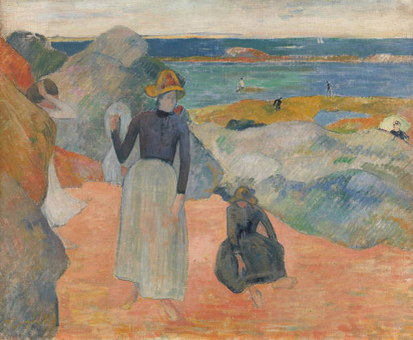 Painting - On The Beach In Brittany by Paul Gauguin