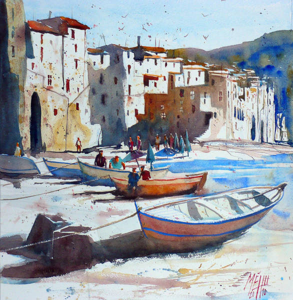 Sicily Painting - On The Beach Of Cefalu by Andre MEHU