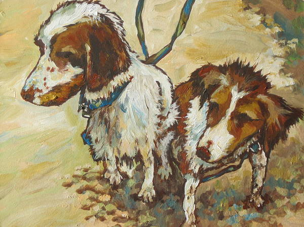 Leash Painting - On The Beach by Sandy Tracey