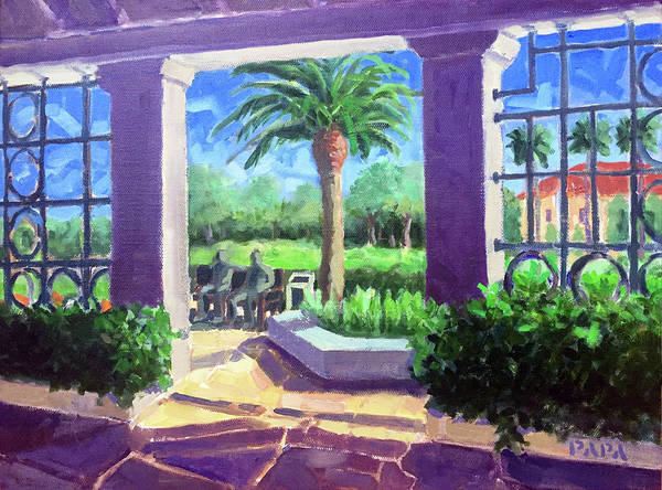 Fdr Painting - On The Bench At Palm Beach by Ralph Papa