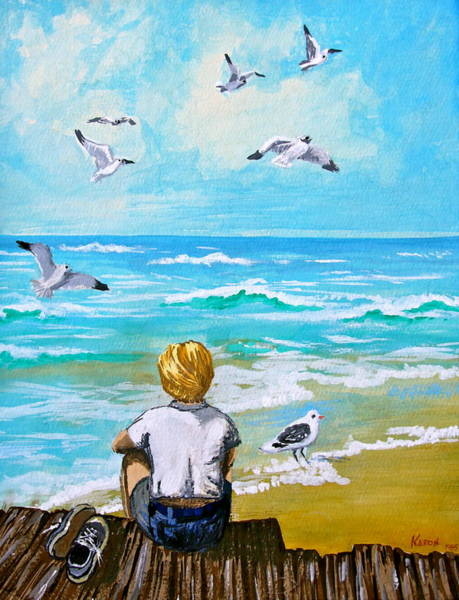 Wall Art - Painting - On The Boardwalk by Karon Melillo DeVega