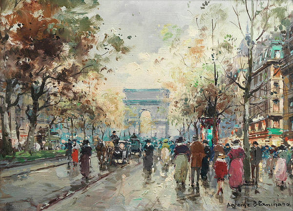 Avenue Painting - On The Champs-elysees by Antoine Blanchard