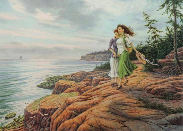 Wall Art - Painting - On The Cliffs by Barry DeBaun