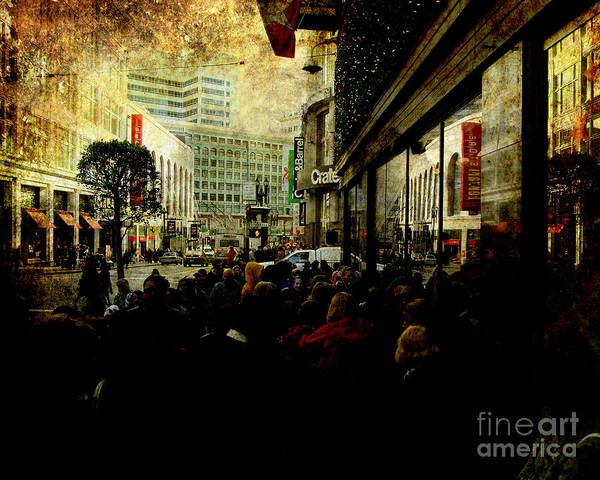 Photograph - On The Day Before Christmas On Stockton Street Sf . Texture by Wingsdomain Art and Photography