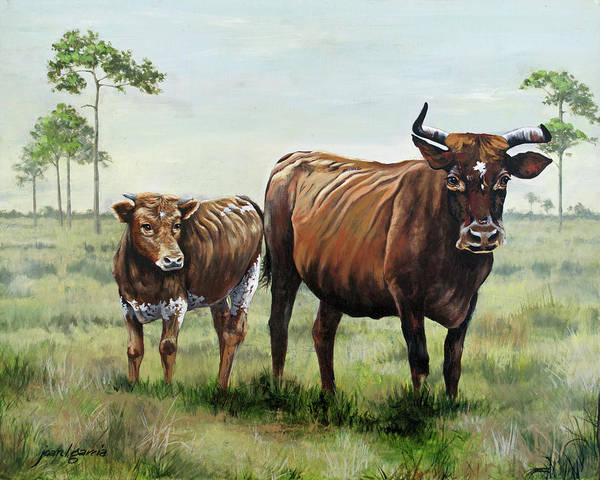 Painting - On The Florida Prairie Cracker Cattle by Joan Garcia