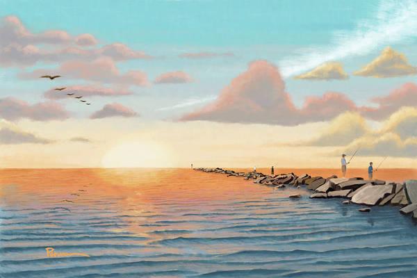 Fishing Digital Art - On The Jetties by Kevin Putman