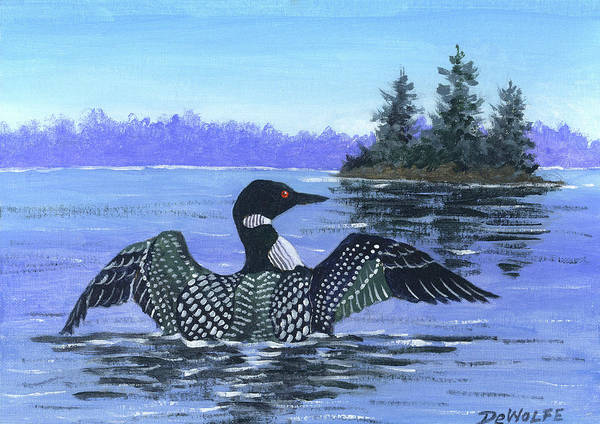 Loon Painting - On The Lake Sketch by Richard De Wolfe