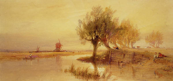 Norfolk Wall Art - Painting - On The Norfolk Broads by Edward Duncan