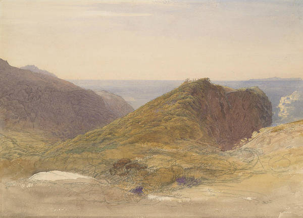 Drawing - On The North Coast Of Devon, Lundy Island In The Distance by Samuel Palmer