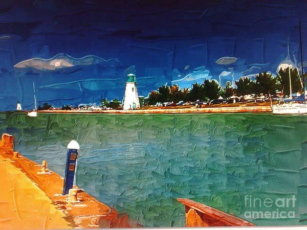 On The Pier At Port Art Print by Deborah Selib-Haig DMacq