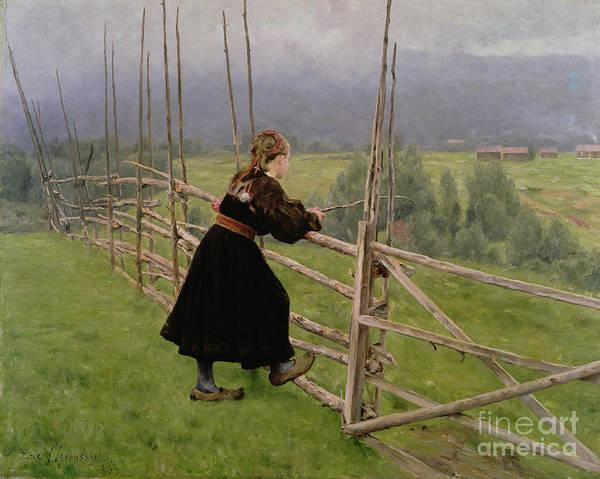 The Shepherdess Wall Art - Painting - On The Plain by Karl Fredrick Nordstrom