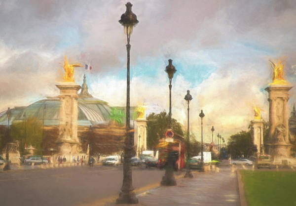 Digital Art - On The Pont Alexandre  by Mick Burkey