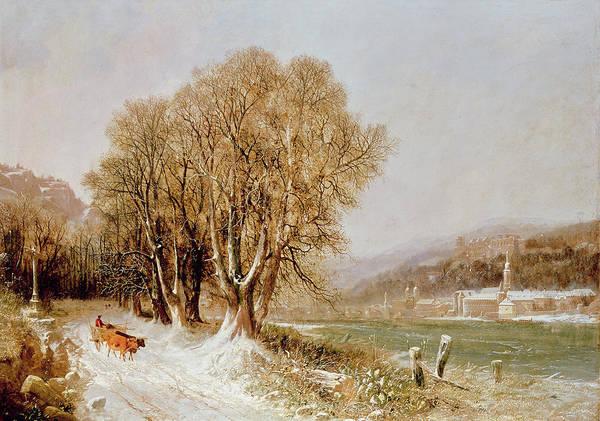 Snow Bank Painting - On The River Neckar Near Heidelberg by Joseph Paul Pettit