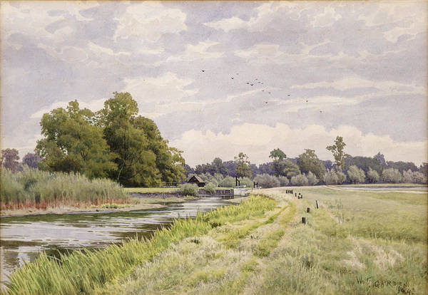 River Bank Painting - On The River Ouse Hemingford Grey by William Fraser Garden